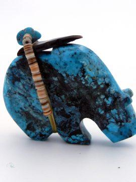 Zuni Kenric Laiwakete Natural Kingman Turquoise Bear Fetish