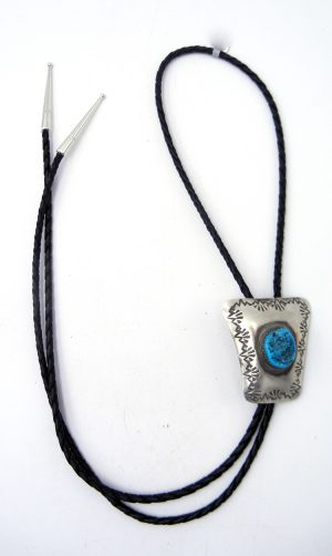 Navajo turquoise nugget and brushed sterling silver bolo tie by Monica Smith