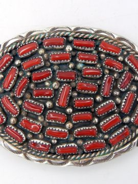 Navajo Darlene Begay Coral and Sterling Silver Belt Buckle