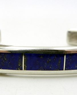 Navajo Larry Loretto Lapis and Sterling Silver Channel Inlay Cuff Bracelet