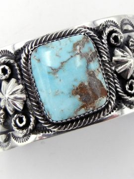 Navajo Will Denetdale Turquoise and Sterling Silver Applique Cuff Bracelet