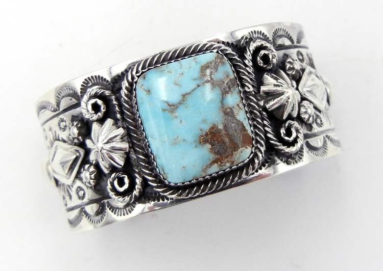 Navajo turquoise and sterling silver applique cuff bracelet by Will Denetdale
