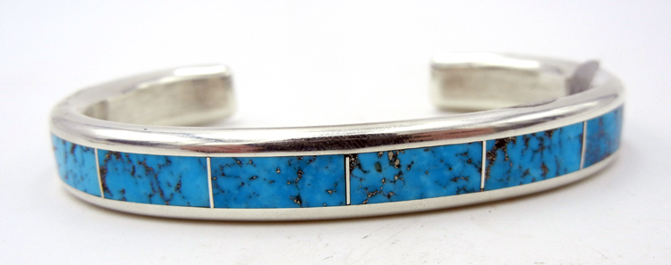 Navajo Larry Loretto Turquoise and Sterling Silver Channel Inlay Cuff Bracelet
