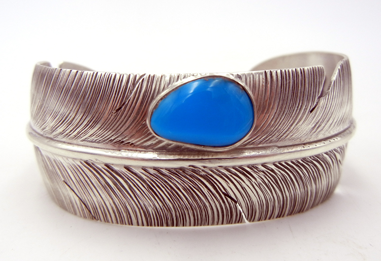 Navajo Ben Begay Sterling Silver and Turquoise Feather Cuff Style Bracelet