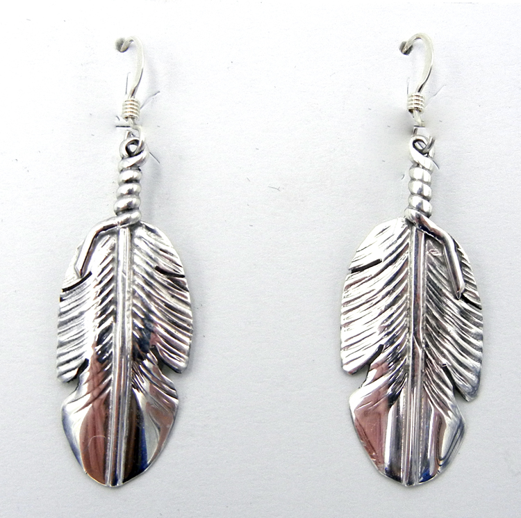 Navajo Ben Begay Small Sterling Silver Feather Dangle Earrings