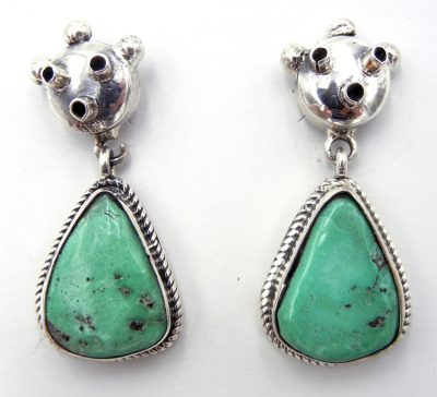 Navajo turquoise and sterling silver mudhead earrings by Bennie Ration