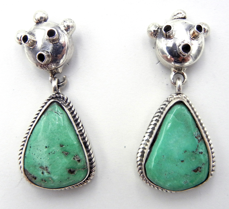 Navajo Bennie Ration Turquoise and Sterling Silver Mudhead Earrings