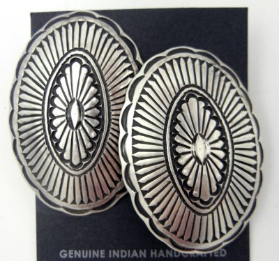 Navajo large hand stamped brushed sterling silver concho style earrings
