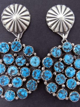 Navajo Turquoise Nugget and Brushed Sterling Silver Cluster Earrings