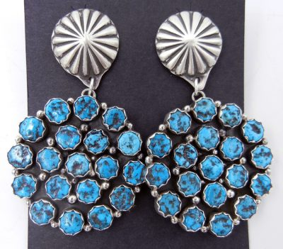 Navajo turquoise cluster and brushed sterling silver dangle earrings