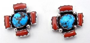 Navajo turquoise, coral, and sterling silver earrings