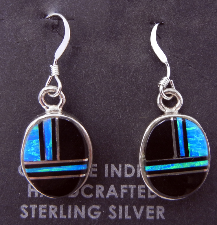 Navajo jet, lab opal, and sterling silver inlay dangle earrings