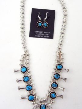 Navajo Small Turquoise and Sterling Silver Squash Blossom Necklace and Earring Set