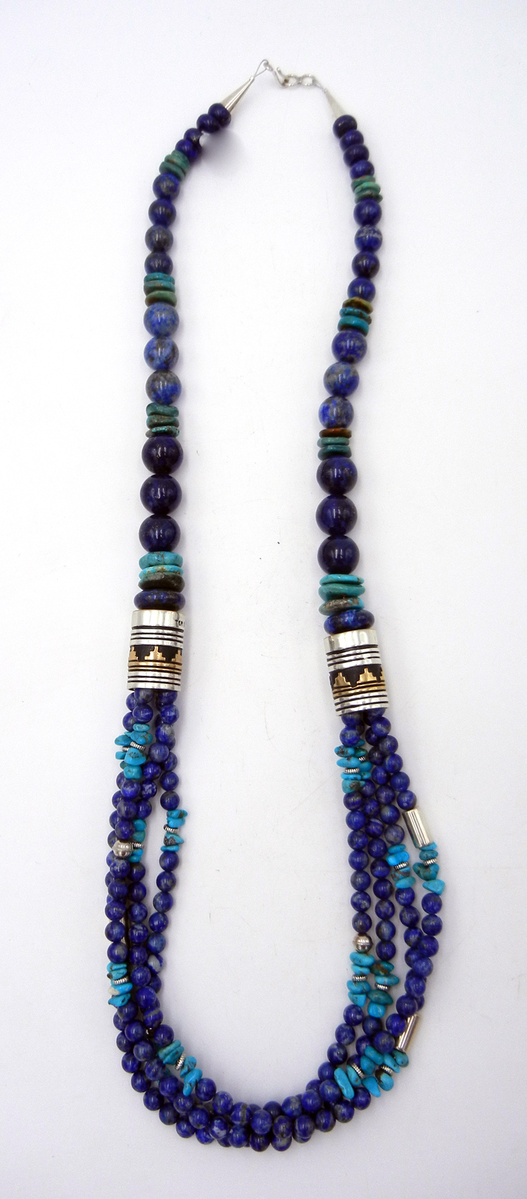 Navajo Rosita Singer Lapis, Turquoise, Gold Fill and Sterling Silver Necklace