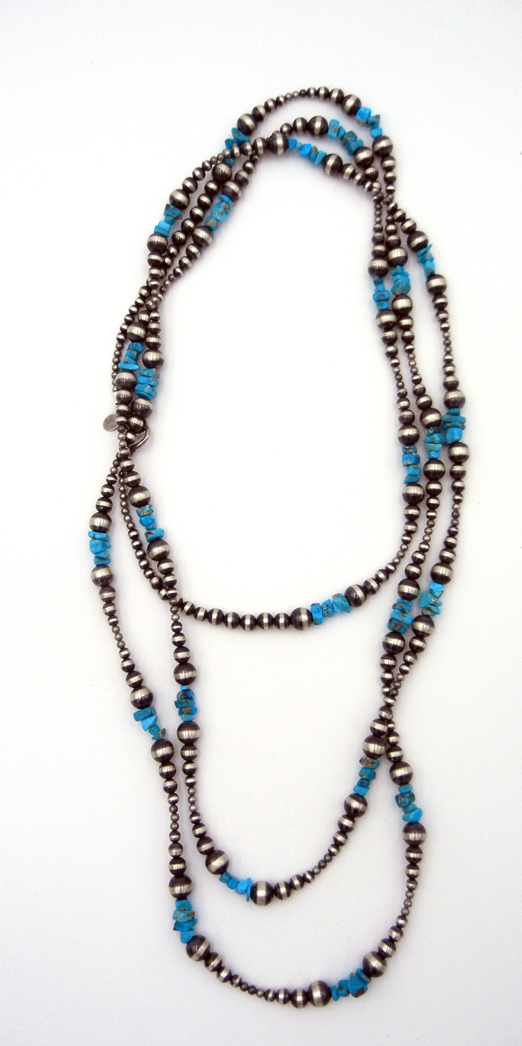 "Navajo 60″ Brushed Sterling Silver Bead and Turquoise ""Jump Rope"" Necklace"