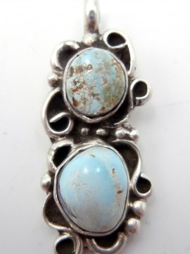 Navajo Juan Guerro Double Dry Creek Turquoise and Sterling Silver Pendant