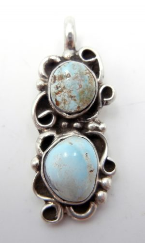 Navajo double dry creek turquoise and sterling silver pendant by Juan Guerro
