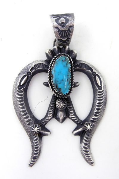 Navajo sandcast sterling silver and turquoise naja pendant by Linberg and Eva Billah