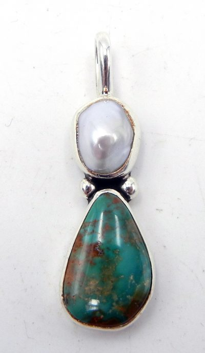 Navajo turquoise, pearl and sterling silver pendant