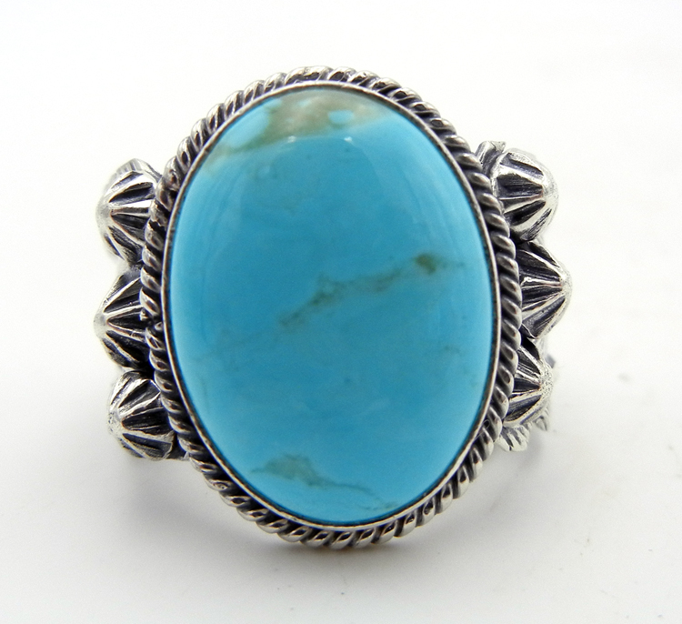 Navajo Turquoise and Sterling Silver Feather Ring