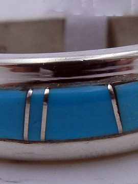 Zuni Turquoise and Sterling Silver Inlay Ring