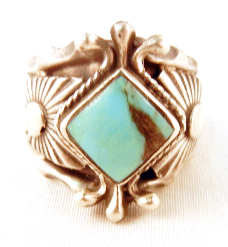 Navajo Turquoise and Sterling Silver Stamped and Applique Ring