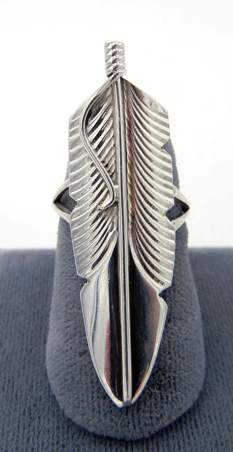 Navajo stamped sterling silver feather ring
