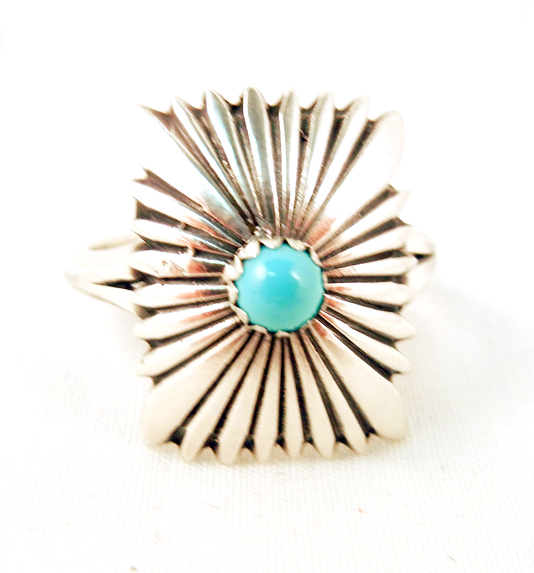 Navajo Stamped Sterling Silver and Turquoise Ring