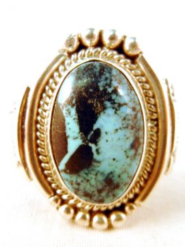 Navajo Juan Guerro Turquoise and Sterling Silver Ring