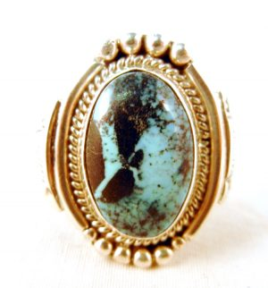 Navajo turquoise and sterling silver ring by Juan Guerro