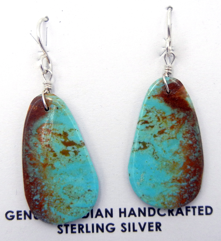 Santo Domingo turquoise slab earrings by Ronald Chavez