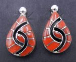 Zuni coral and sterling silver inlay hummingbird pattern earrings by Amy Quandelacy