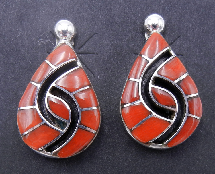 Zuni Amy Quandelacy Coral and Sterling Silver Inlay Hummingbird Pattern Earrings