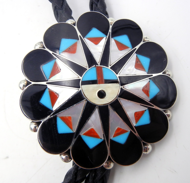 Zuni Delwin Gasper Multi-Stone Inlay and Sterling Silver Sunface Bolo Tie