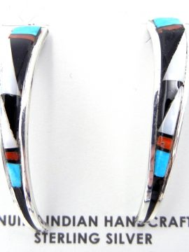 Zuni Multi-Stone Inlay and Sterling Silver Tapered Half Hoop Earrings