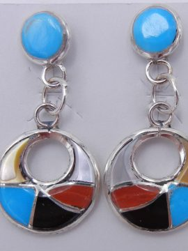 Zuni Small Multi-Stone Inlay and Sterling Silver Cut Out Dangle Earrings