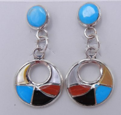 Zuni multi-stone inlay and sterling silver small cutout dangle earrings