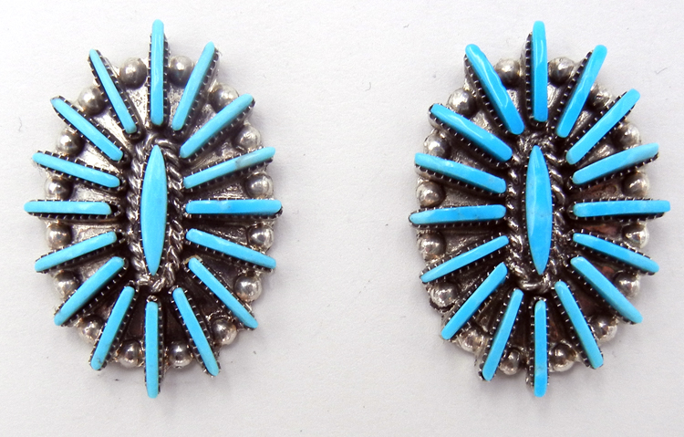 Zuni Turquoise Needlepoint and Sterling Silver Earrings