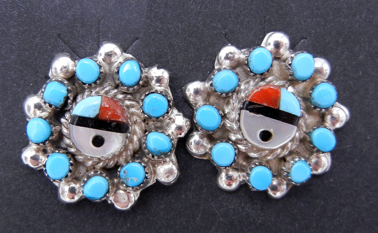 Zuni Multi-Stone Inlay and Turquoise Petit Point Sunface Earrings