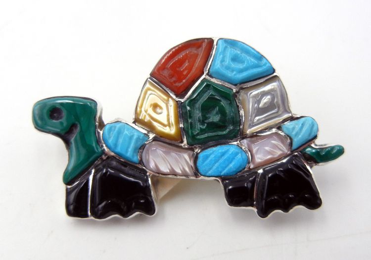 Zuni multi-stone inlay and sterling silver turtle pin/pendant by Tamara Pinto