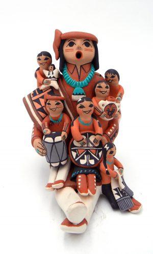 Jemez male storyteller with six children by Carol Lucero Gachupin