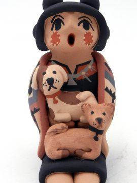 Jemez Chrislyn Fragua Small Storyteller with Two Dogs