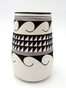 Laguna Myron Sarracino Handmade and Handpainted Black and White Cylinder Vase