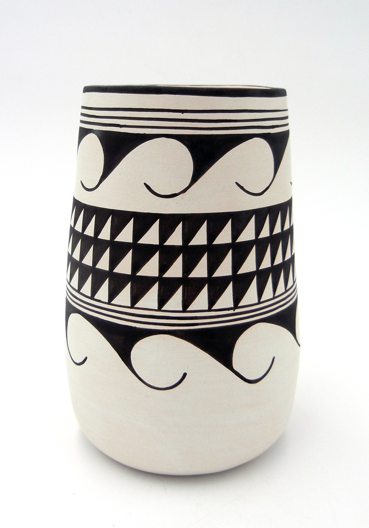 Laguna Myron Sarracino Handmade and Handpainted Black and White Cylinder Vase