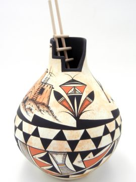 Navajo Westly Begaye Handmade Kiva Pottery with Pueblo House and Flute Player