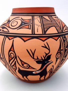 Zuni Tonia Fontenelle Traditional Jar Featuring Deer with Heart Line
