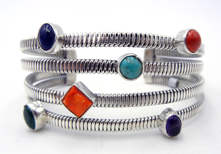 Navajo multi-stone and sterling silver flexible cuff bracelet