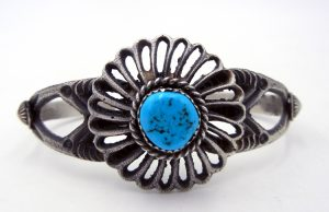 Navajo sandcast sterling silver and turquoise cuff bracelet by Linberg and Eva Billah