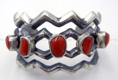 Navajo sandcast sterling silver and coral zig zag cuff bracelet
