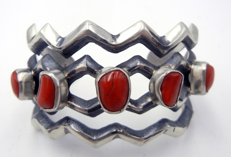 Navajo sandcast sterling silver and coral zig zag cuff bracelet